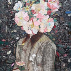 """Floral Mind #1″. Oil, Emulsion, Textile, Tar, Mixed Media on Wood, 40×30 in., (101.6×76.2 cm), 2015."
