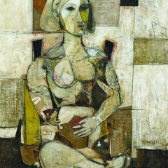 """Seated Woman"". Oil, Emulsion, Paper, Mixed Media on Wood, 48×36 in., (121.9×91.4 cm), 2014."